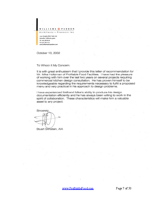 Williams & Paddon, Architects & Planners, Inc. Profitable Food Facilities Recommendation Letter