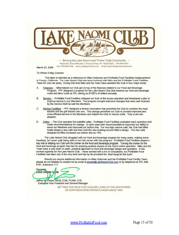 Lake Naomi Club Profitable Food Facilities Recommendation Letter