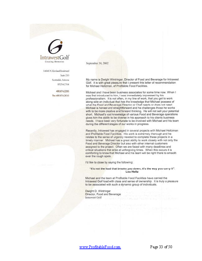 Intrawest Golf Profitable Food Facilities Recommendation Letter