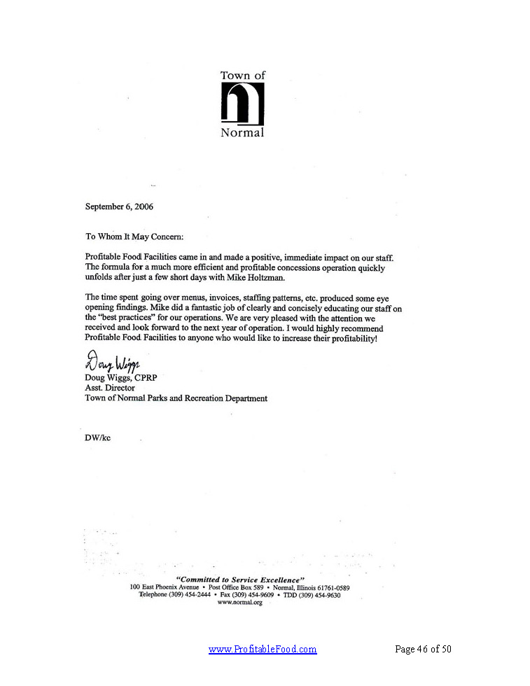 Town of NormalProfitable Food Facilities Recommendation Letter