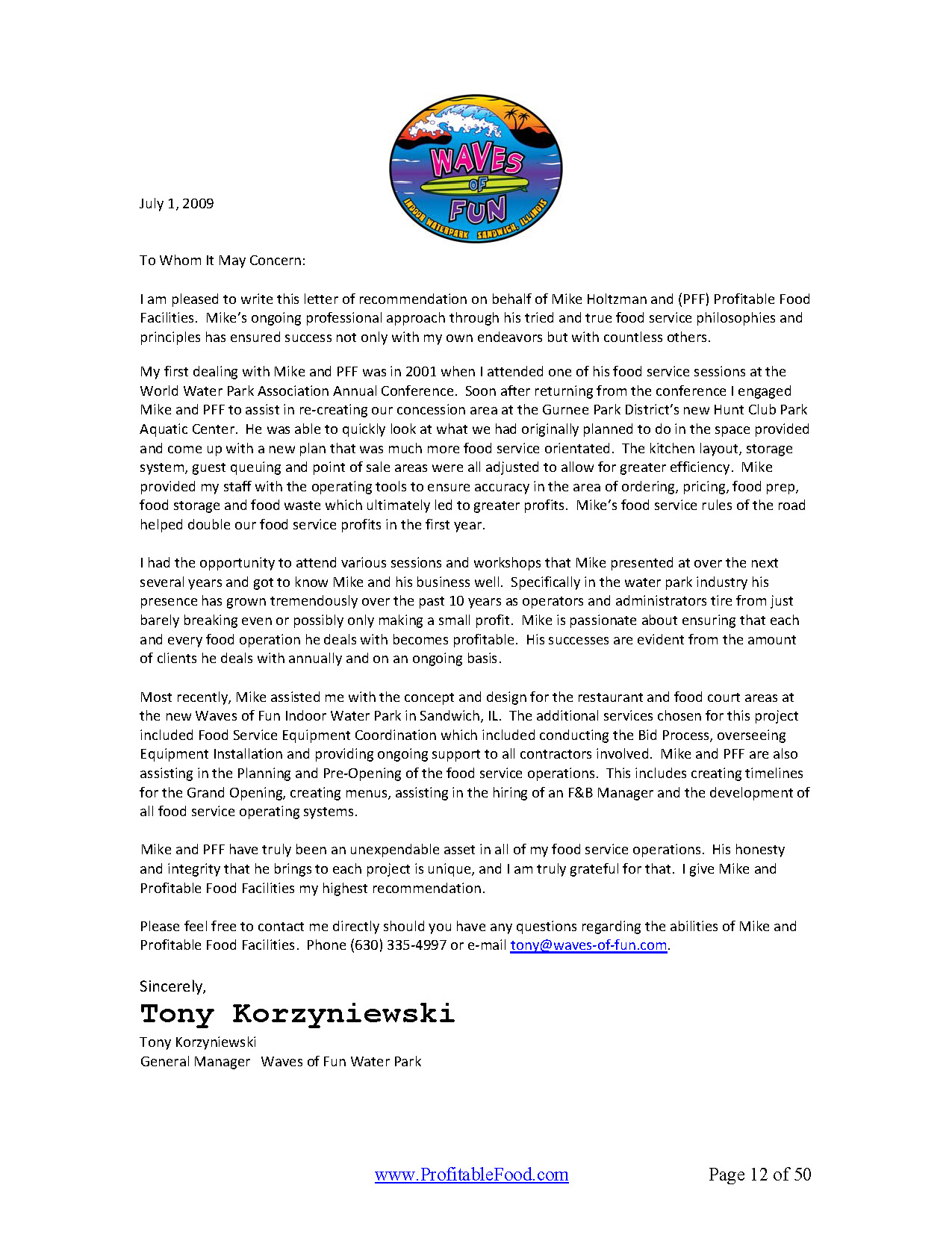 Waves of Fun Profitable Food Facilities Recommendation Letter