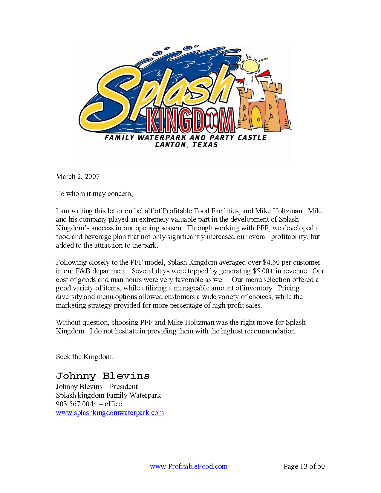 Splash Kingdom Profitable Food Facilities Recommendation Letter