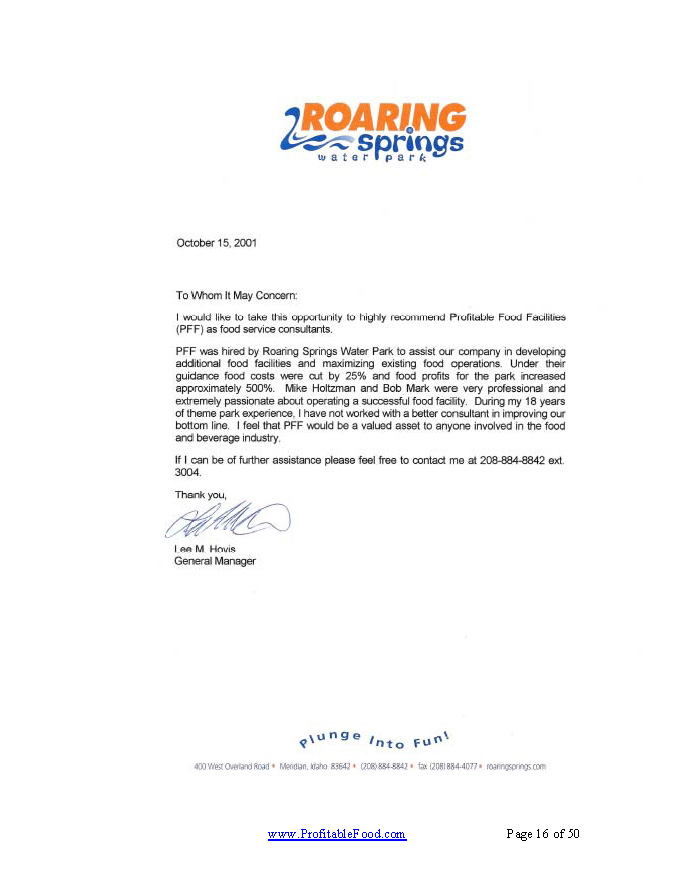 Roaring Springs Waterpark Profitable Food Facilities Recommendation Letter