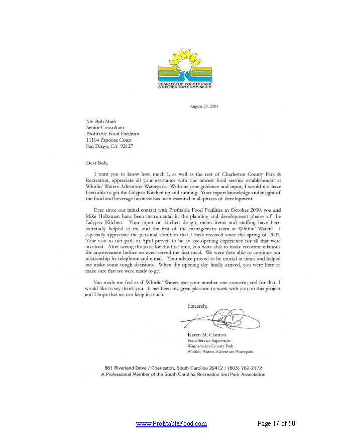 Whirlin' Waters Adventure Waterpark Profitable Food Facilities Recommendation Letter