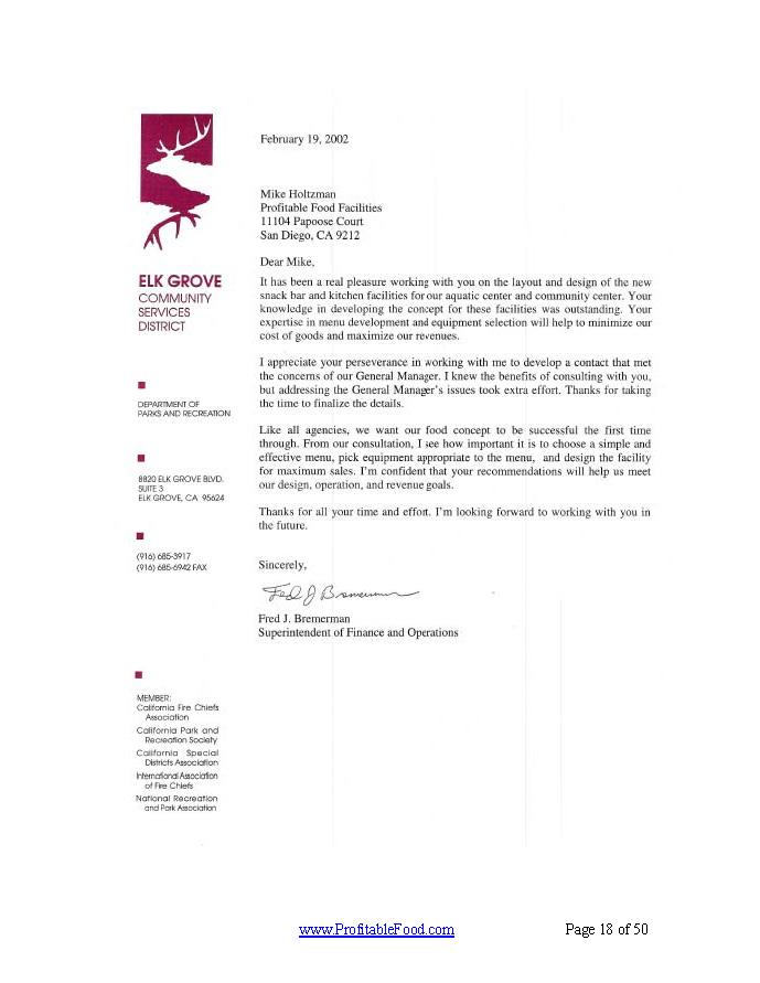 Elk Grove Profitable Food Facilities Recommendation Letter