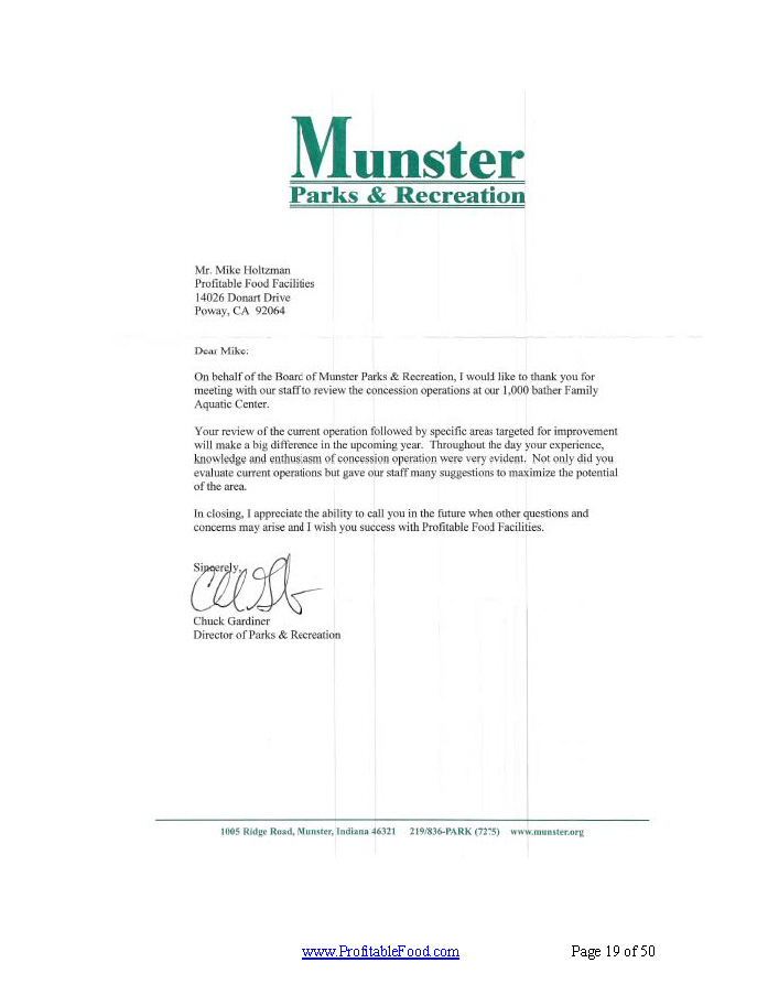 Munster Parks & Recreation Profitable Food Facilities Recommendation Letter