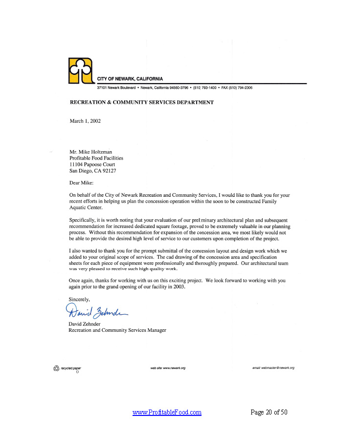City of Newark Recreation & Community Services Profitable Food Facilities Recommendation Letter