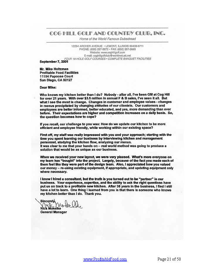 Cog Hill Golf & Country Club, Inc. Profitable Food Facilities Recommendation Letter