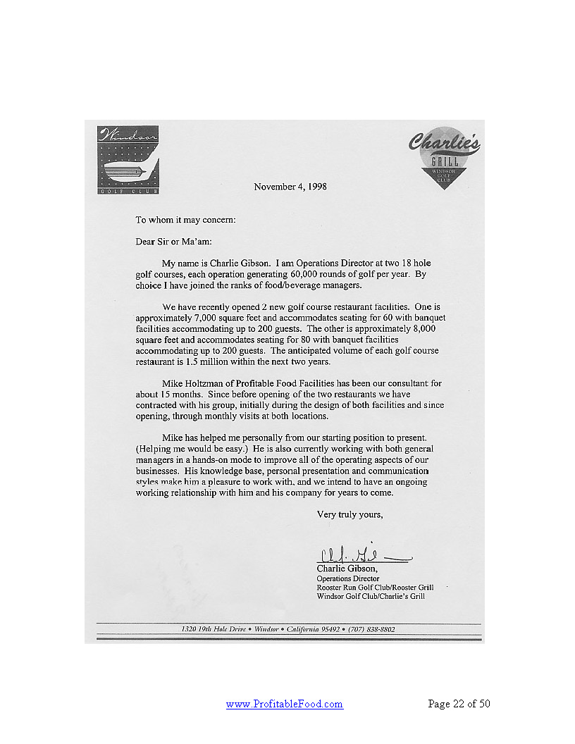 Charlie's Grill Profitable Food Facilities Recommendation Letter