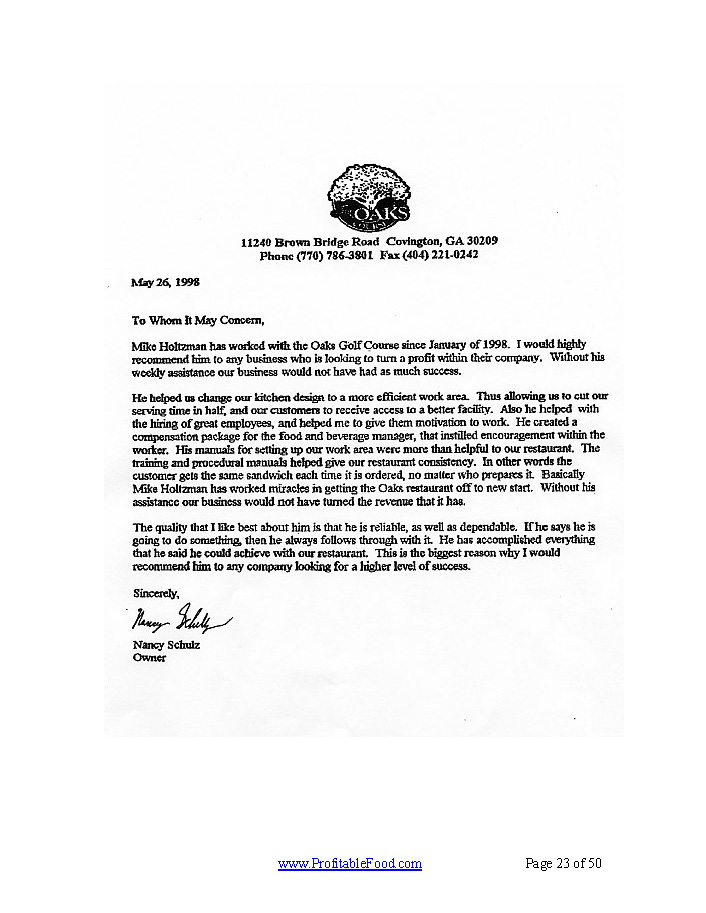 Oaks Golf Course Profitable Food Facilities Recommendation Letter