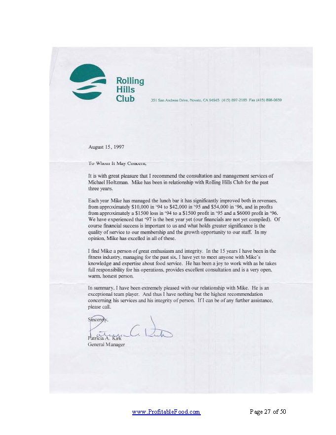 Rolling Hills Club Profitable Food Facilities Recommendation Letter