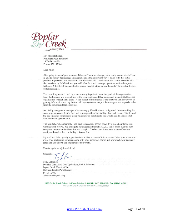 Poplar Creek Profitable Food Facilities Recommendation Letter