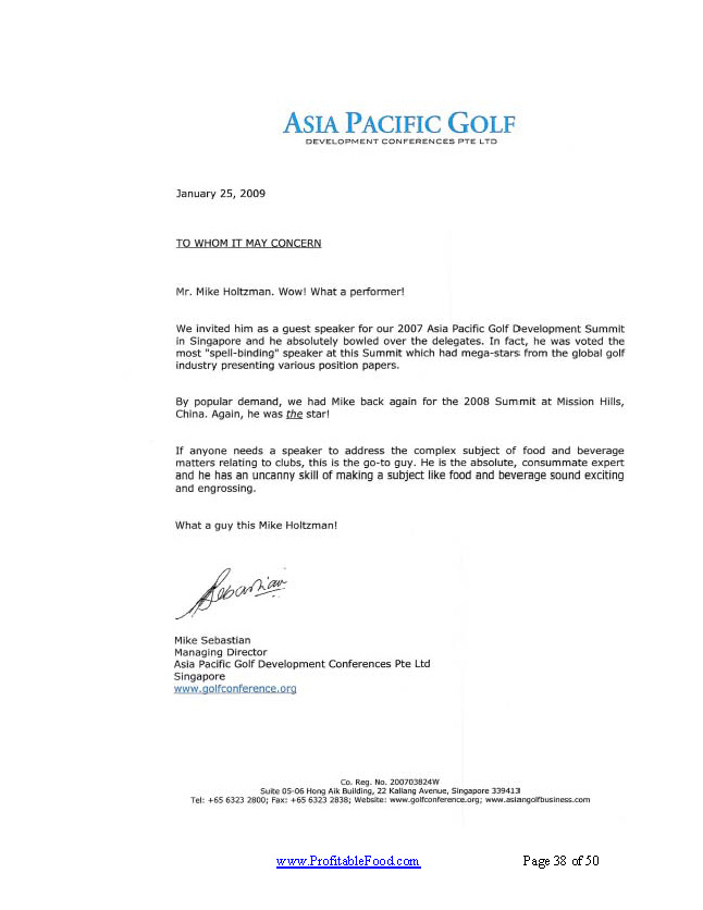 Asia Pacific Golf Profitable Food Facilities Recommendation Letter