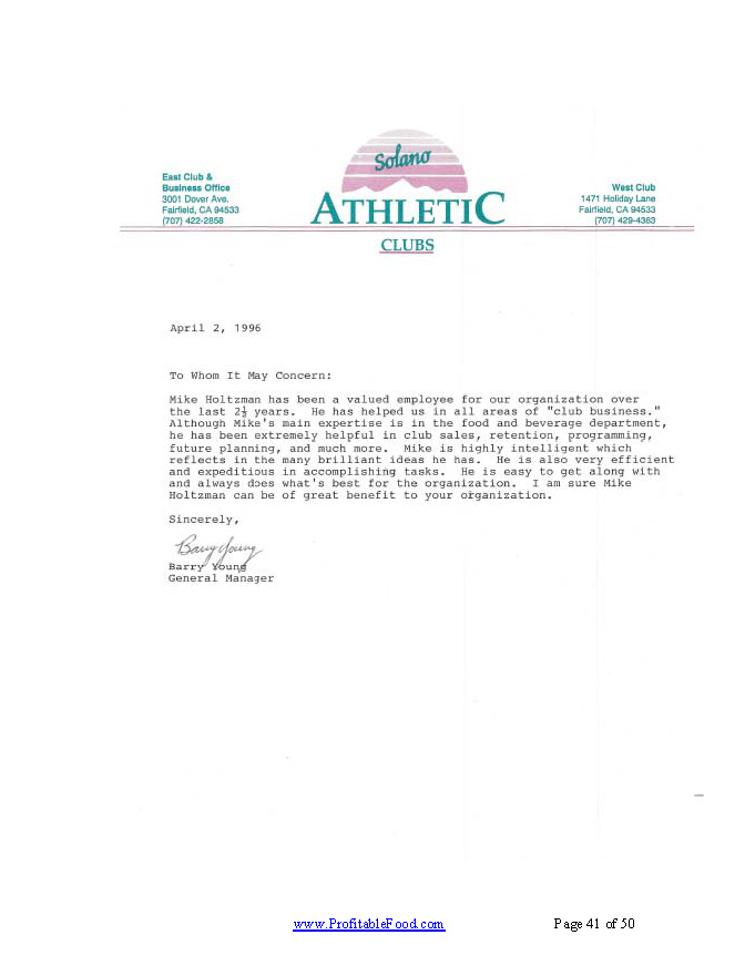 Solano Athletic ClubsProfitable Food Facilities Recommendation Letter