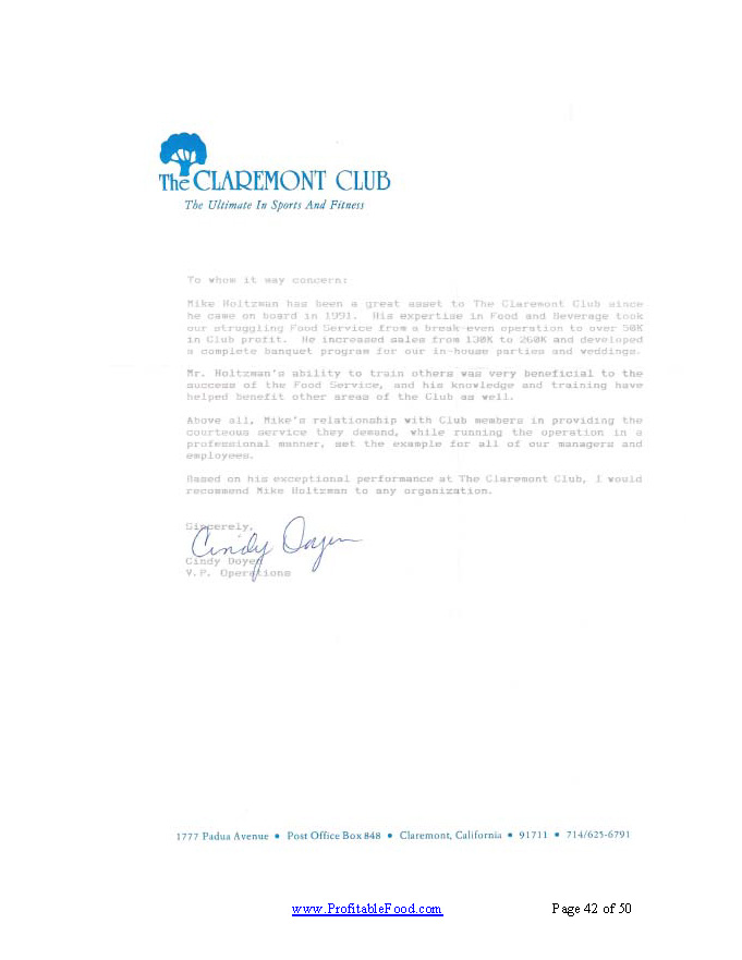 The Claremont ClubProfitable Food Facilities Recommendation Letter