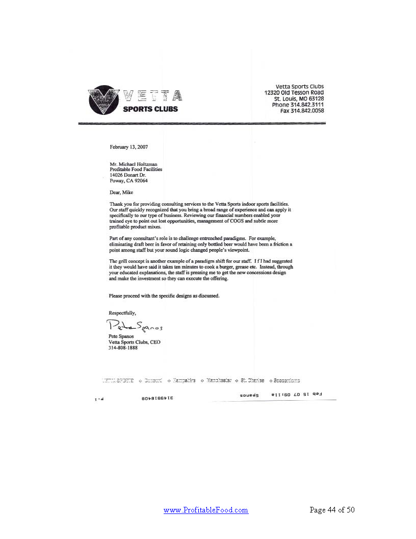 Vetta Sports Clubs Profitable Food Facilities Recommendation Letter