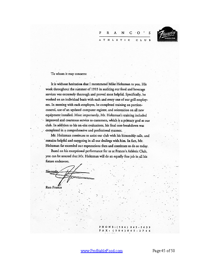 Franco's Athletic Club Profitable Food Facilities Recommendation Letter