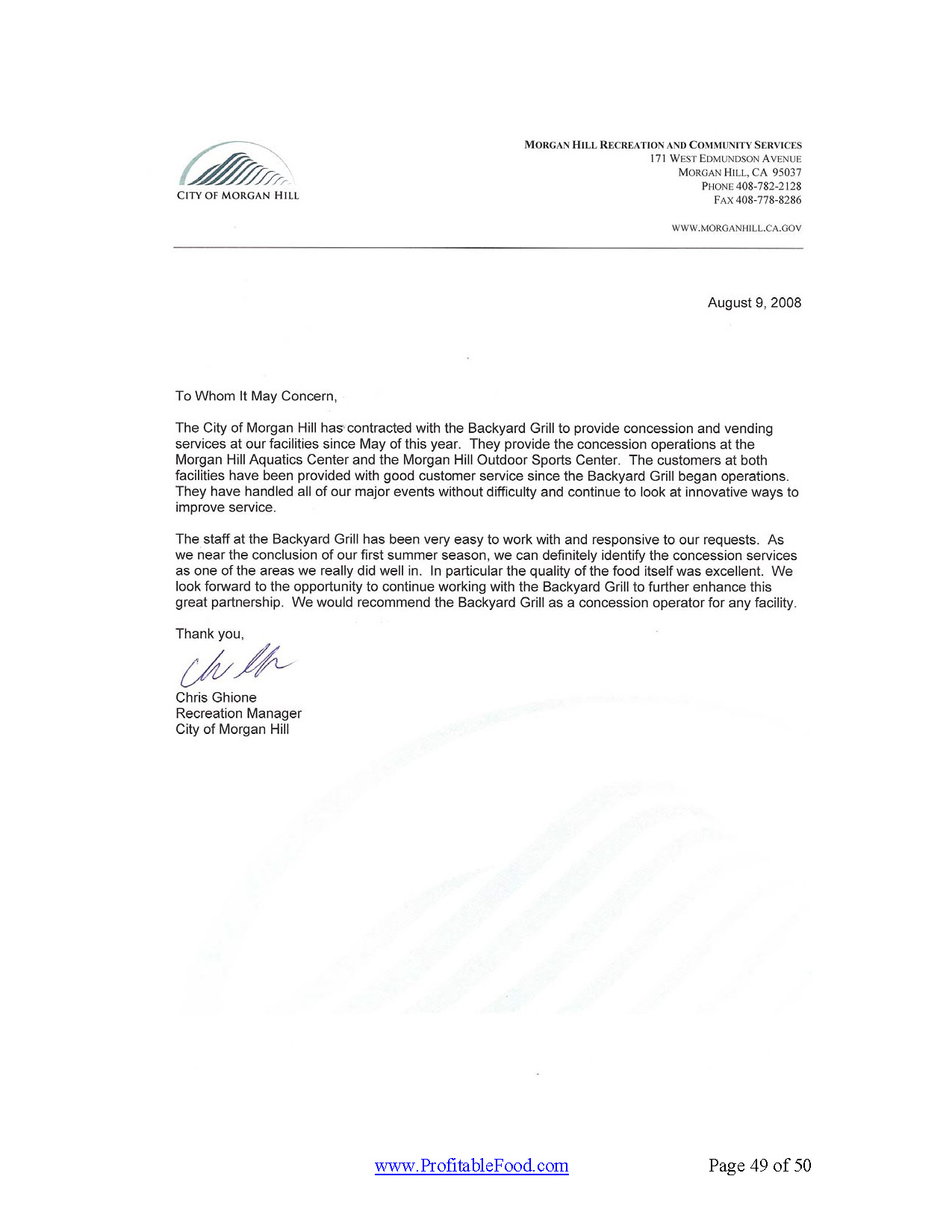 Profitable Food Facilities Recommendation Letter