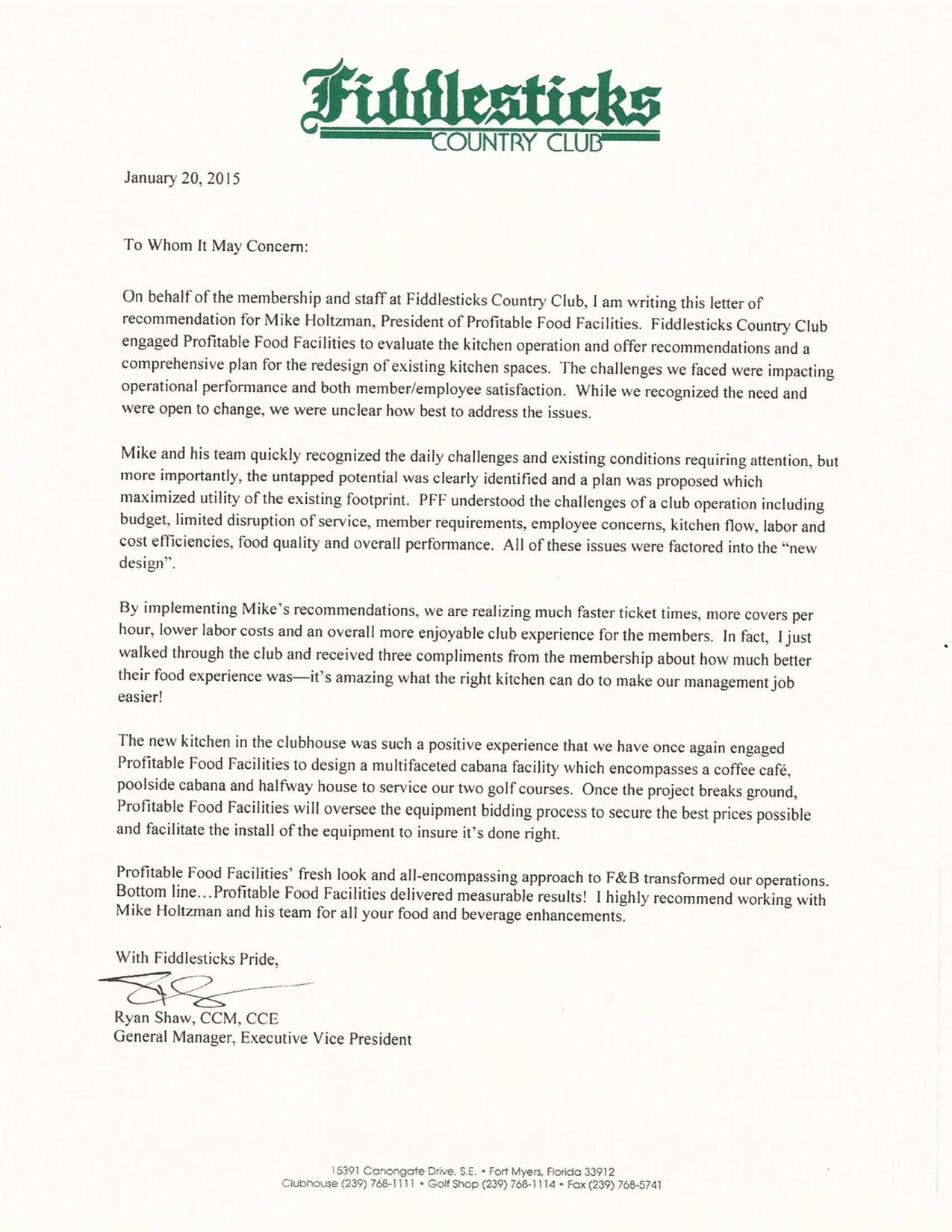 Profitable Foods Facilities Worldwide Recommendation Letter